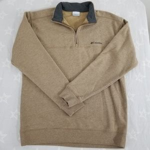 Columbia Mens Long Sleeve size M 1/4 zip  Beige